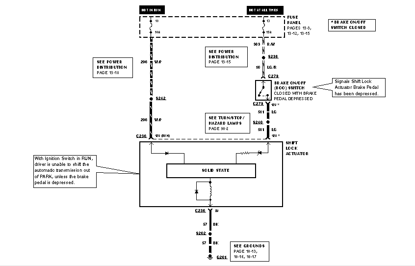 1994 ford wiring diagram and lacation of the shift interlock solenoid