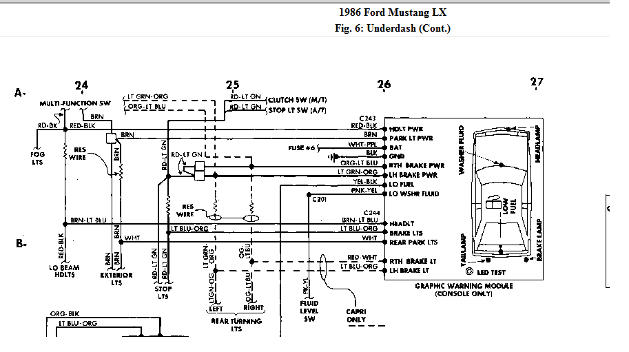 brake lights on my 1986 mustang lx. the brake switch tests ok. 97 ford mustang wiring diagrams #10