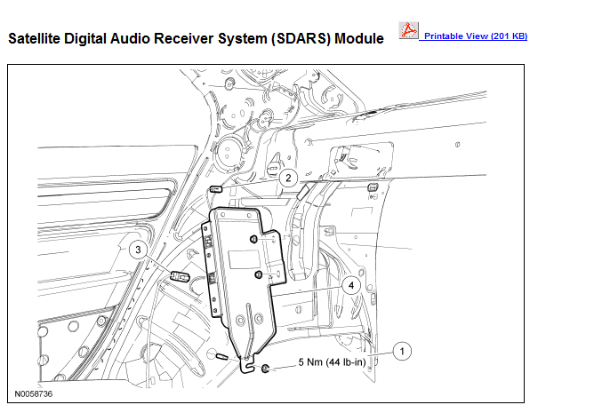 where is the sirius radio module located in the 2007 ford