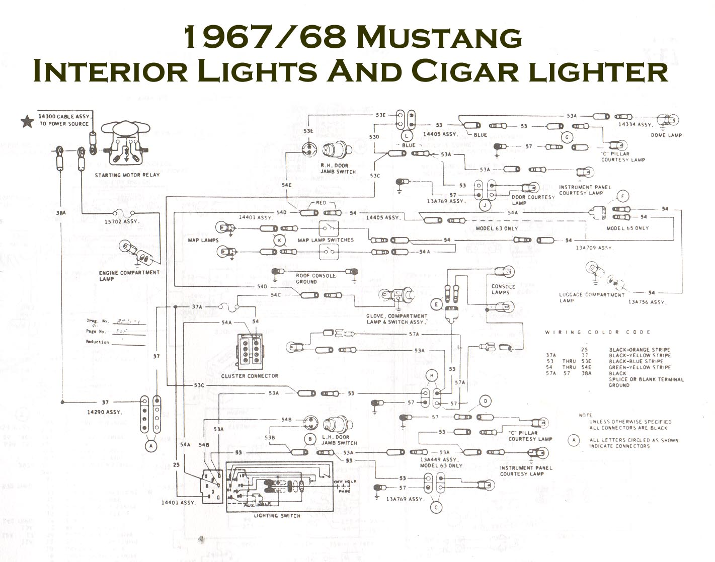 1968 mustang coupe need schmatic on under dash wiring dome light this is a common total wiring diagram for your mustang