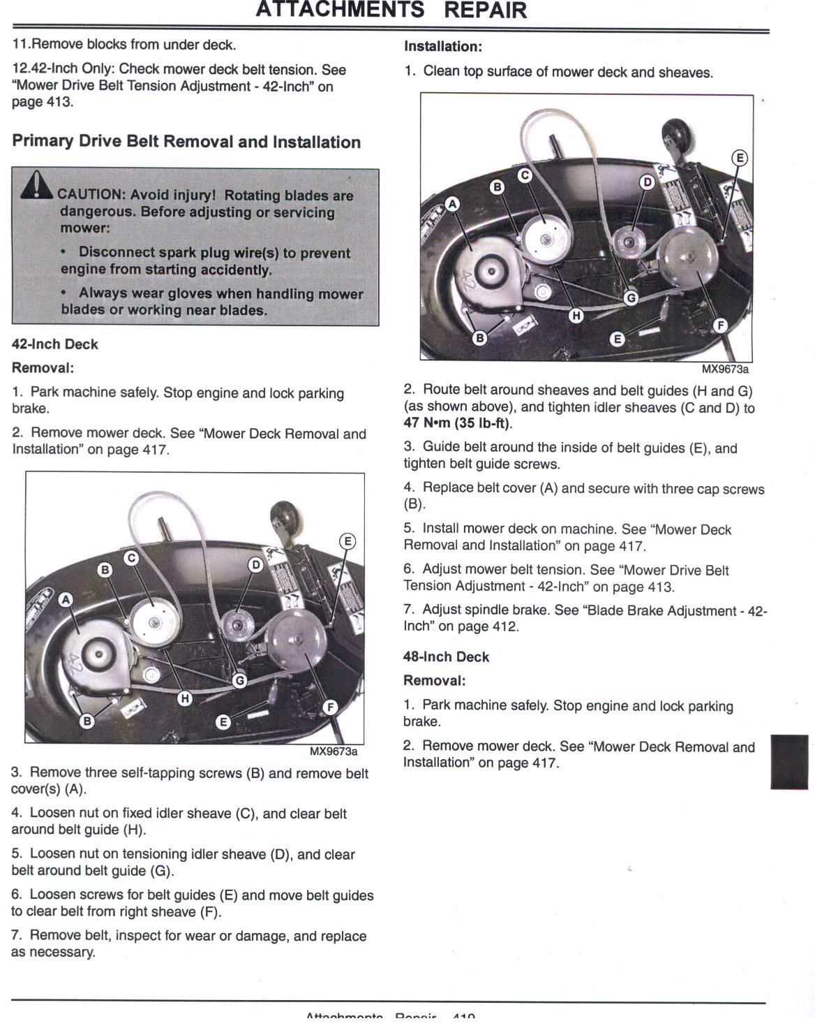 Deere L100 Lawn Mower Belt Came Off Need Diagram Of Pulley