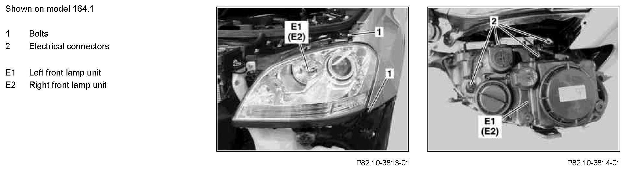 how to change headlight bulb ml500