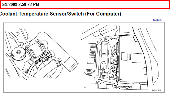 Where Is The Coolant Temperature Sensor Located On A 97