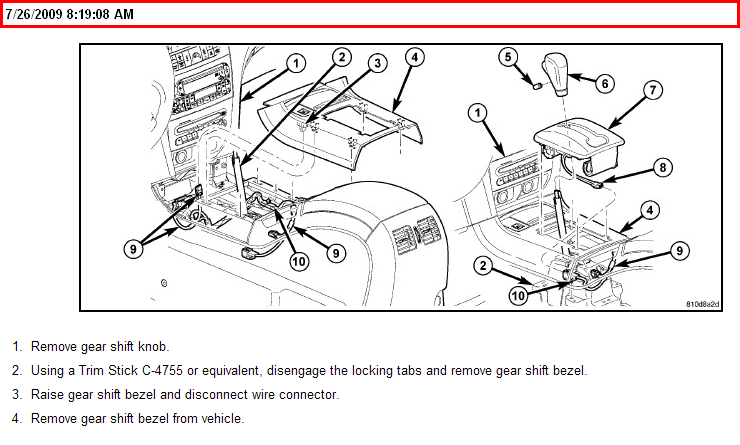 service manual  install shift cable on a 2005 chrysler