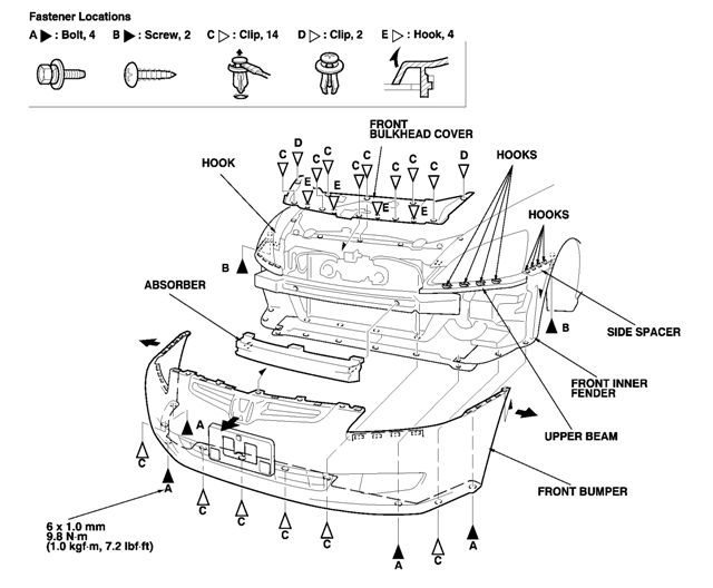 service manual  how to remove 1997 honda cr v bumper