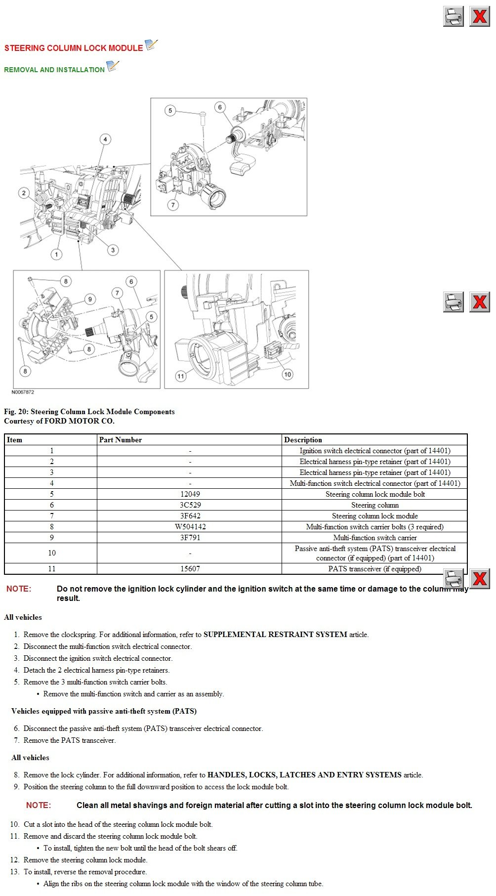 ... 2005 Ford Focus Ignition Switch Removal Wire Data
