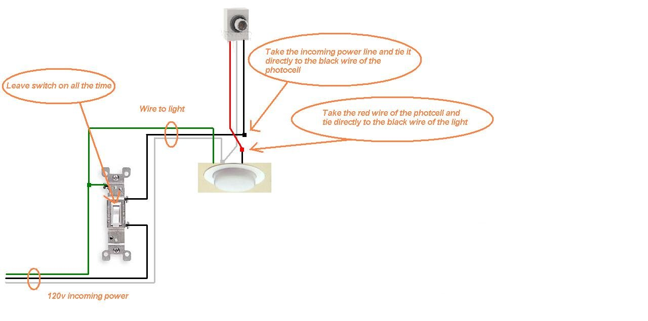 how to install photocell outdoor light sensor? need a wiring diagram how to add a photocell to an outdoor light at Wiring A Photocell Light Switch