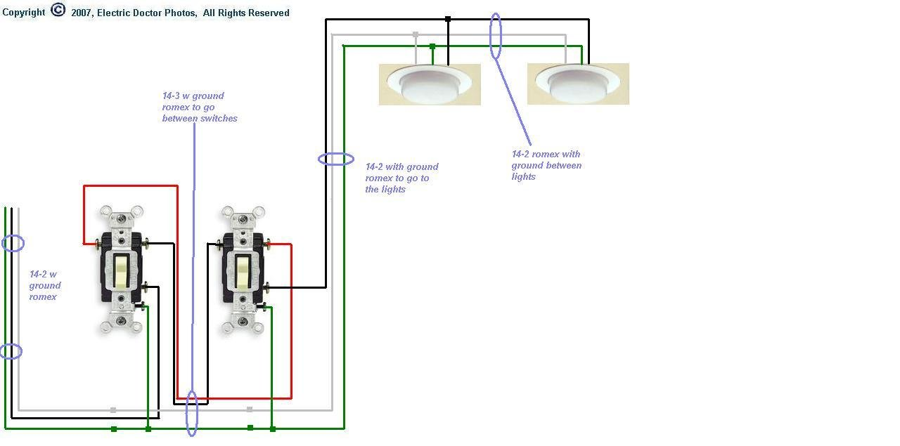 I Need A Diagram For Wiring Three Way Switches To Multiple Lights4 3 Hall Light Switch Graphic