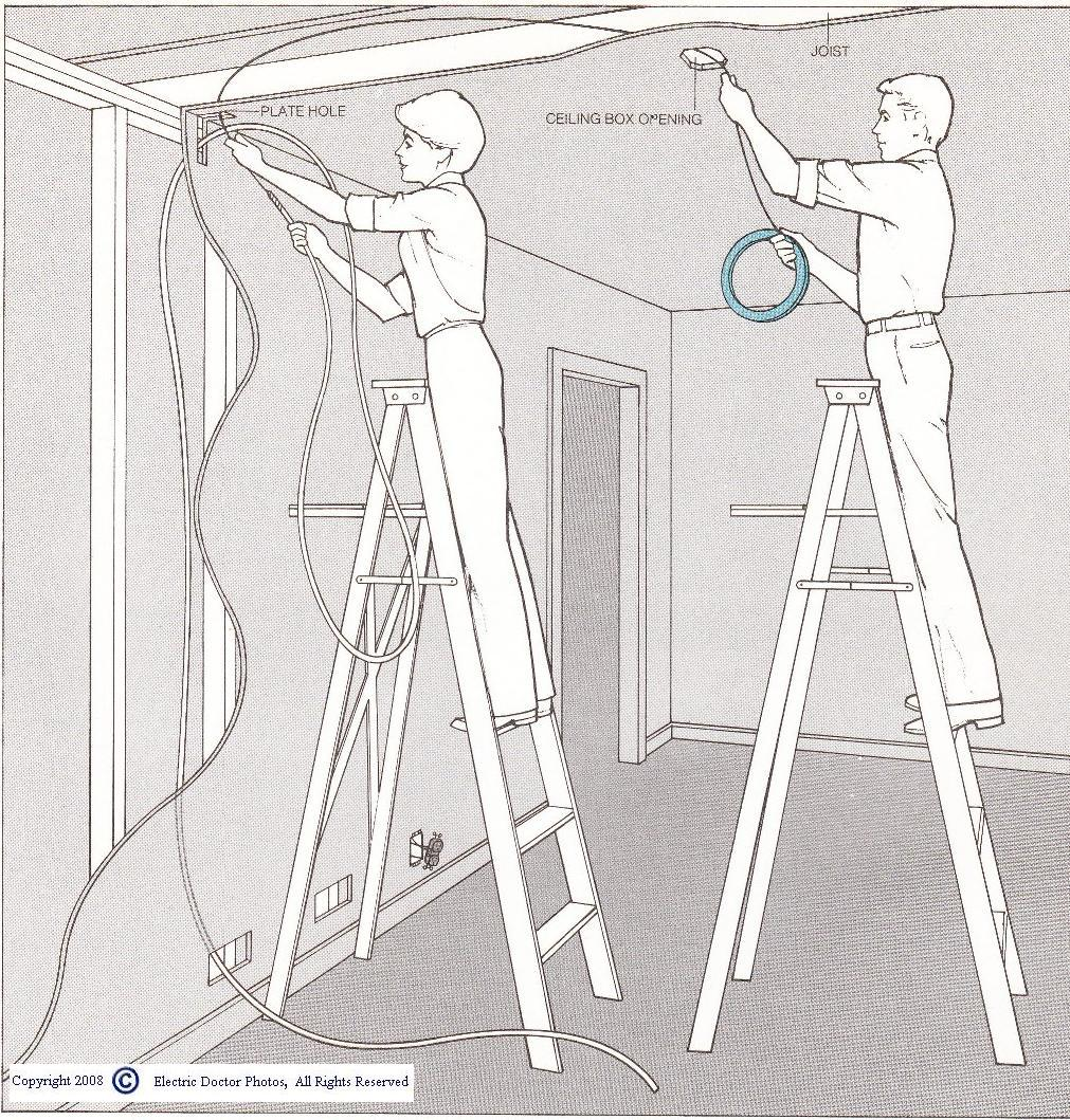 How to pull wire across in rafter ceiling when there is room up there.