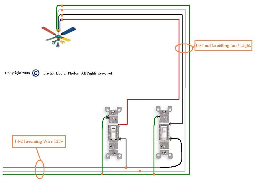 How To Wire A Ceiling Fan With Light On 3 Way Switch