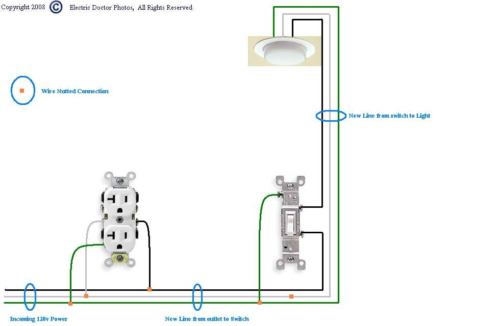 light switch electrical wiring outlet i have an outlet controlled by a switch. the power goes ... light switch electrical diagram #7