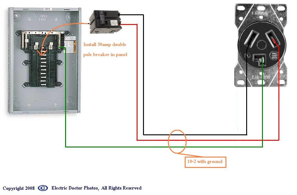 is there an online schematic for dryer hook up to fuse panel