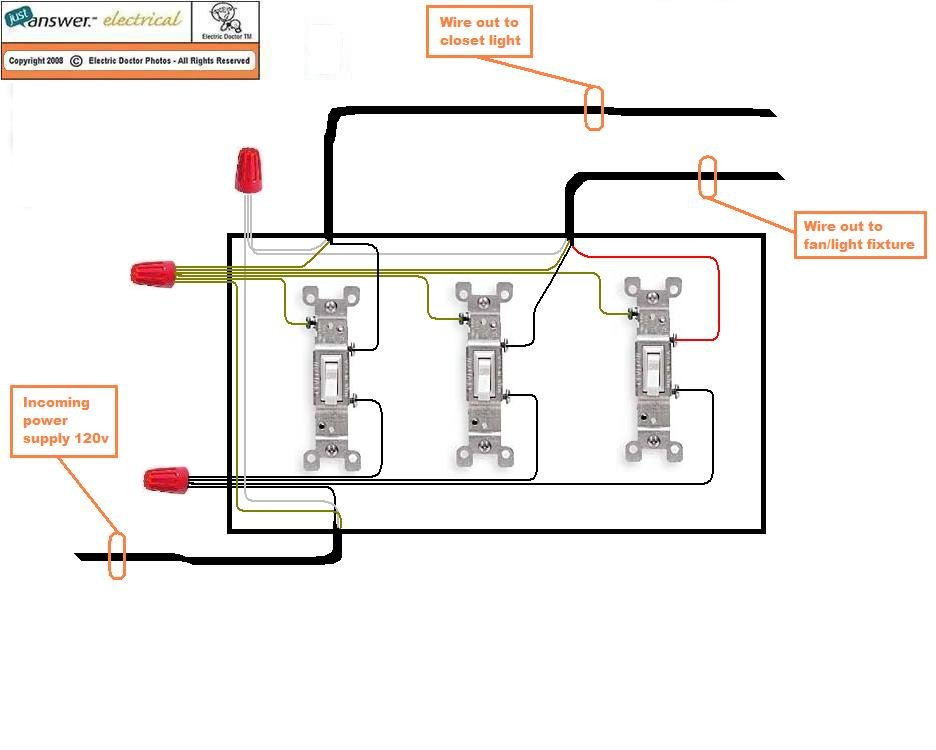 two light wiring diagram with 1n8c8 Three Single Pole Switches Gang Box Closet Light on Forum posts further Lighting switchwires oneway also How To Use A Relay likewise Convert One 3 Way Light Switch To Belkin Wemo Light Switch Single Pole in addition Sound Operated Flip Flop.