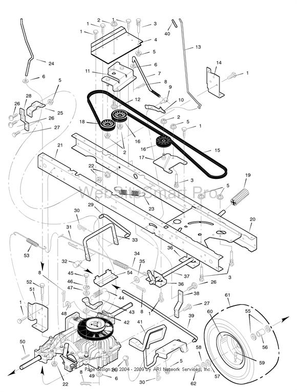 Murray lawn mower model 4657X92 motion belt routing diagram
