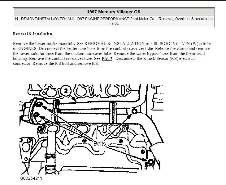 Knock Sensor Installation On A 1997 Mercury Villager Vanrhjustanswer: Knock Sensor Wiring Diagram For 1997 Villager At Gmaili.net