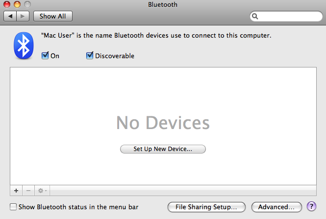 I have bluetooth set up between my new MacBookPro and my