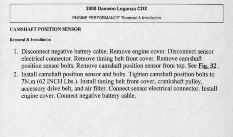Need Diagram To Replace A Canshaft Position Sensor On A 2000 Daewoo Leganza