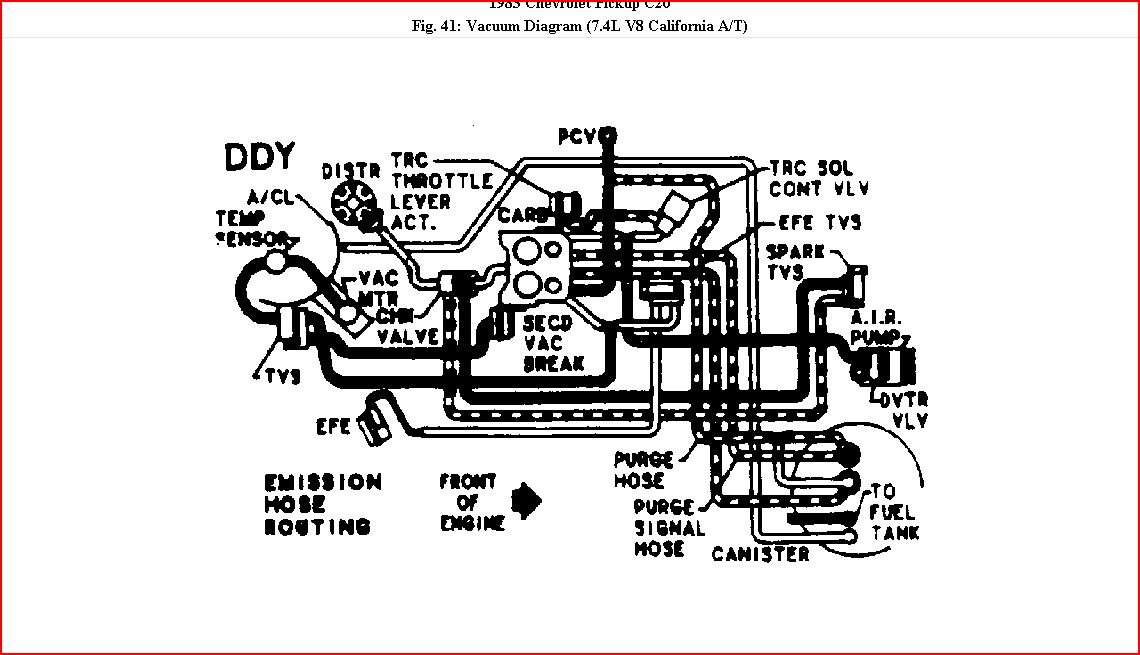 How Can I Get A Vacuum Diagram For A 1983 Chev  Truck With A 454  It Has A 4 Barrel Quadrajet On It