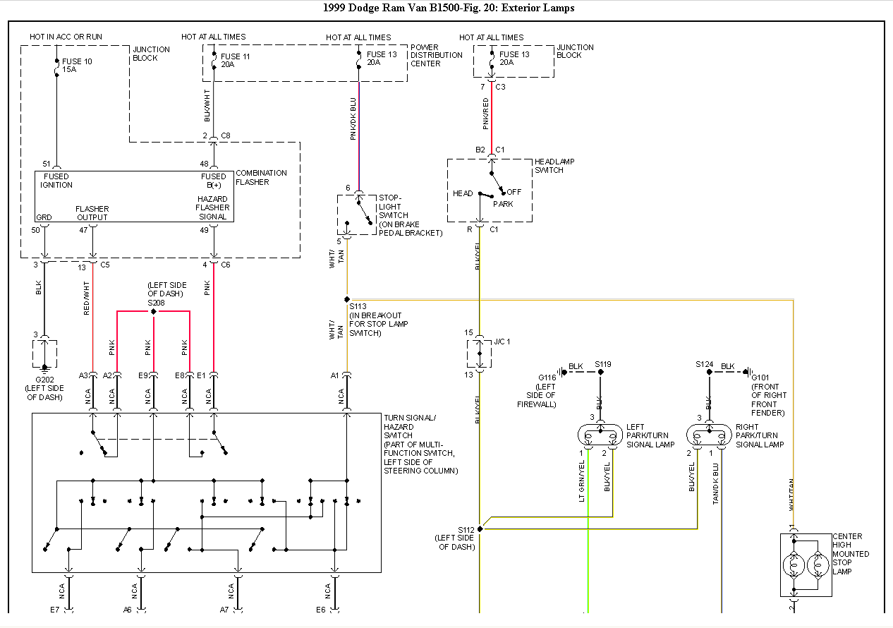 i am having a problem with the brake light and turn signal on the  dodge  1999 van ram 1500 backup light wiring diagram