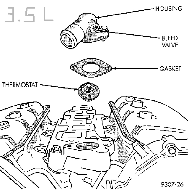 where is the thermostat located on a 1996 dodge intrepid