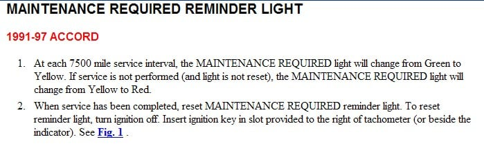How Do You Reset The Maintenance Required Light On A 1992 Honda Accord