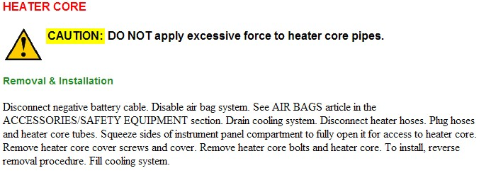How Do I Replace A Heater Core On A 1994 Firebird V6 3 4 Liter