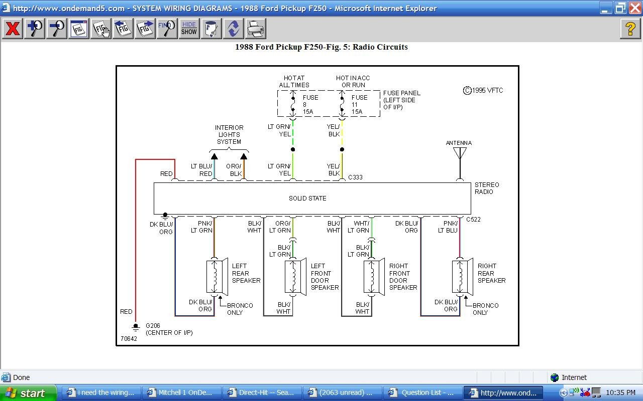 1997 ford f 250 5 8 engine diagram i need the wiring diagrams for the radio wires for an 88 ford f250