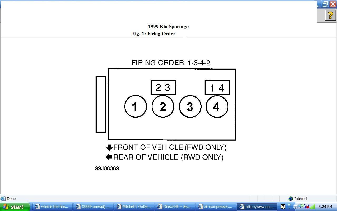 What is the firing order on a 99 kia sportage & which is #1 cylinder