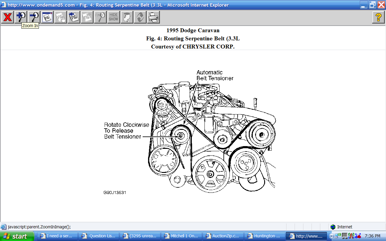 I Need A Serpentine Belt Diagram For A 1995 Dodge Caravan Se