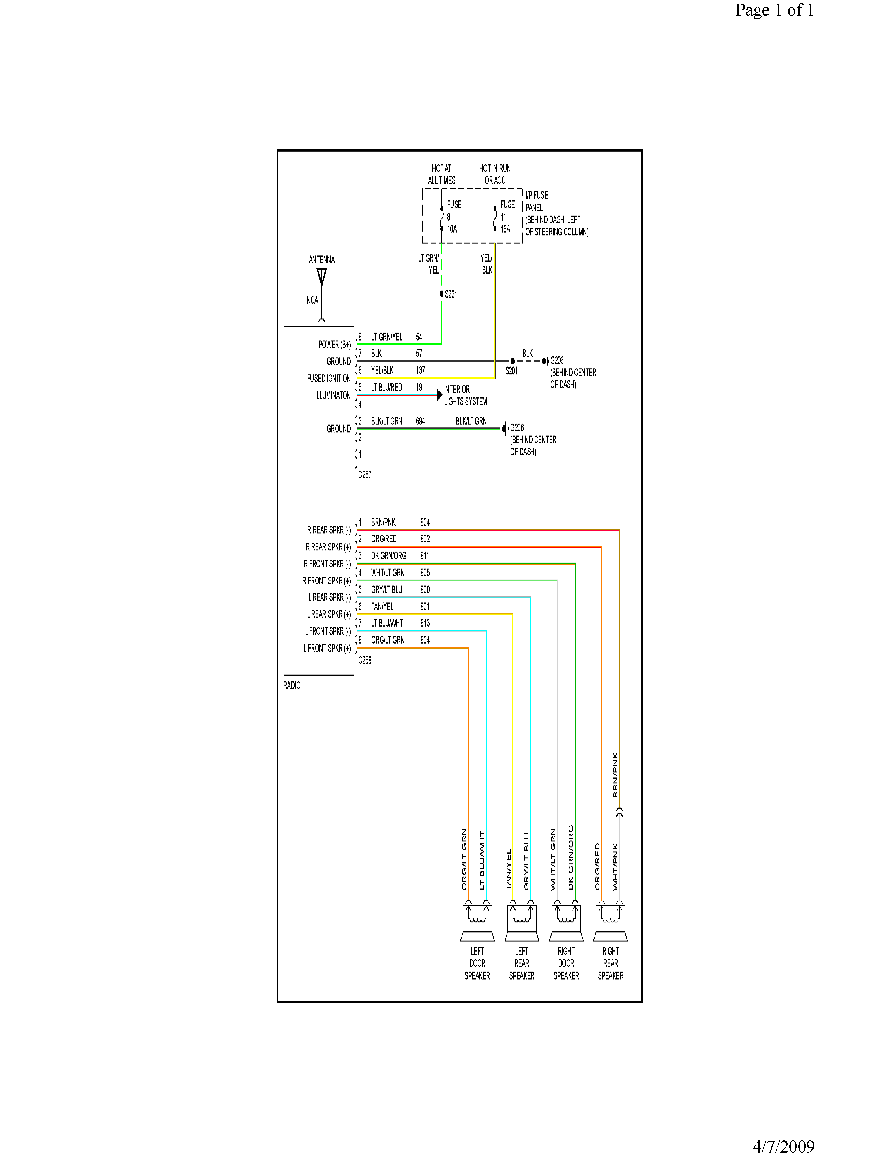 Color wiring diagram for the radio of a 1996 ford mustang
