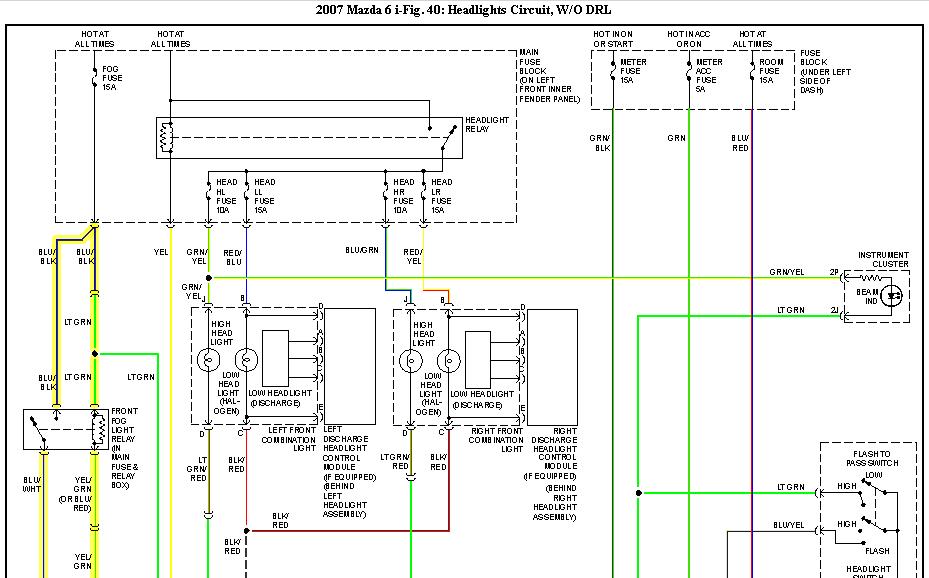 need wiring diagram for 2007 mazda 6 isport 5 door fog lights