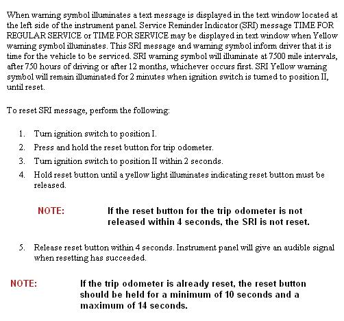 Maint Reset Procedure Volvo XC - 4 way switch does not work