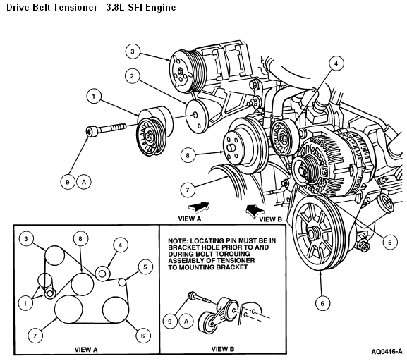On A 1998 Ford Mustang With A 3 8 Liter V6 Which Way Does The Pulley