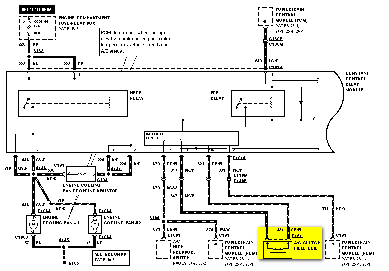 I need to know the location of the fuse or the relay for the    ac       pressor    on a 1996 ford