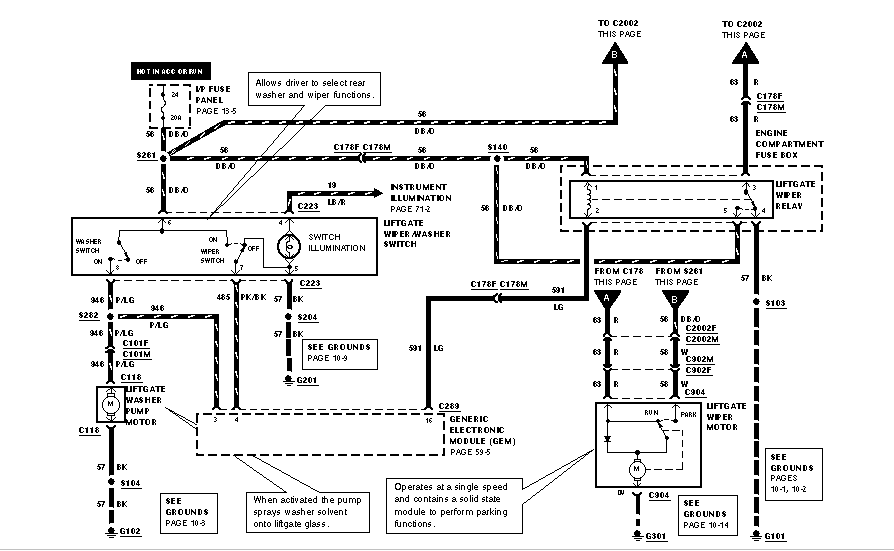 Just The Wiring Diagram That Activates My Rear Wiper On My Ford Winstar Van  Front Wipers Work