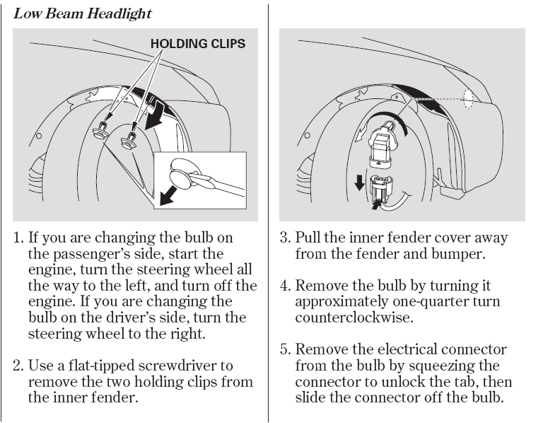 How To Change Out Low Beam Headlight Bulb  2003 Honda Accord