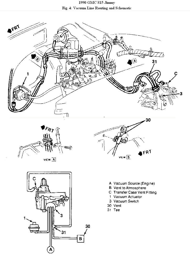 I Have A 1990 Gmc Jimmys 15 V 6 43 Automatic It Runs Great But Gms Engine Diagram All The Lines Related To System Seen Vacuum Harness Get Down On Catalytic Converter And Melt Before So If You Loss Of