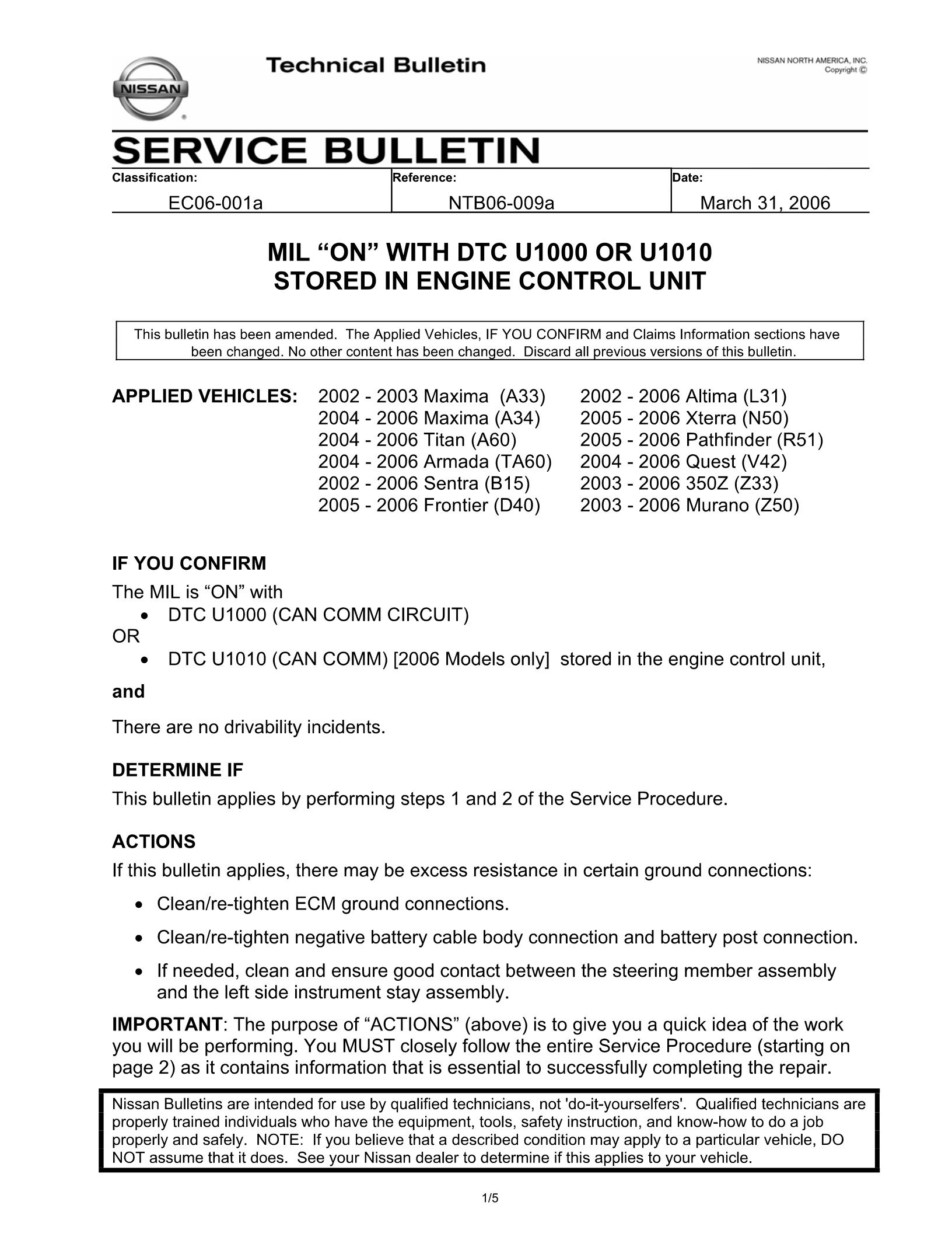 I have Diagnosis code U1001/U1000 CAN on my 2003 Nissan