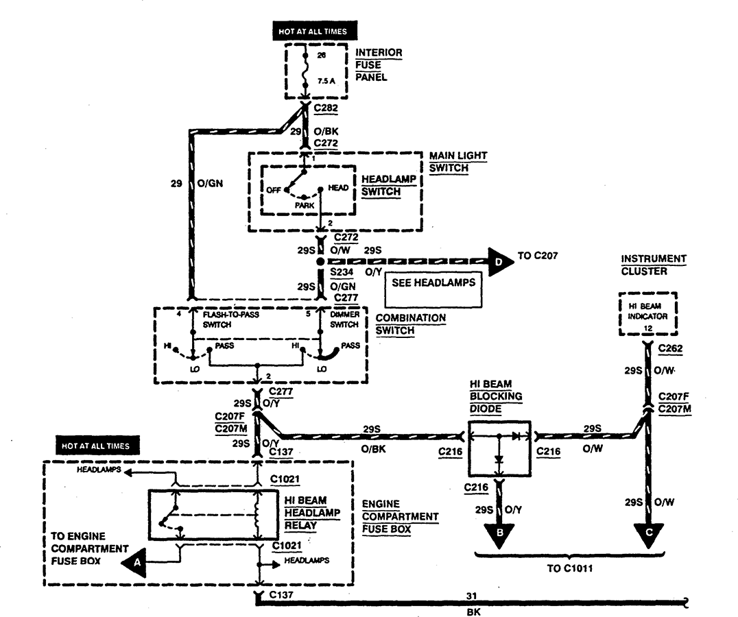 Need Wiring Diagram Running Lights 97 Ford Contour