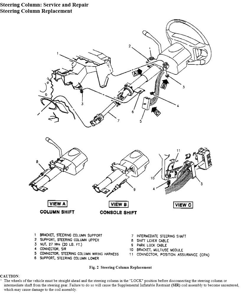 Steering Column Wiring Harness On The 1996 Buick Riviera Wheel Has Become Loose It Graphic
