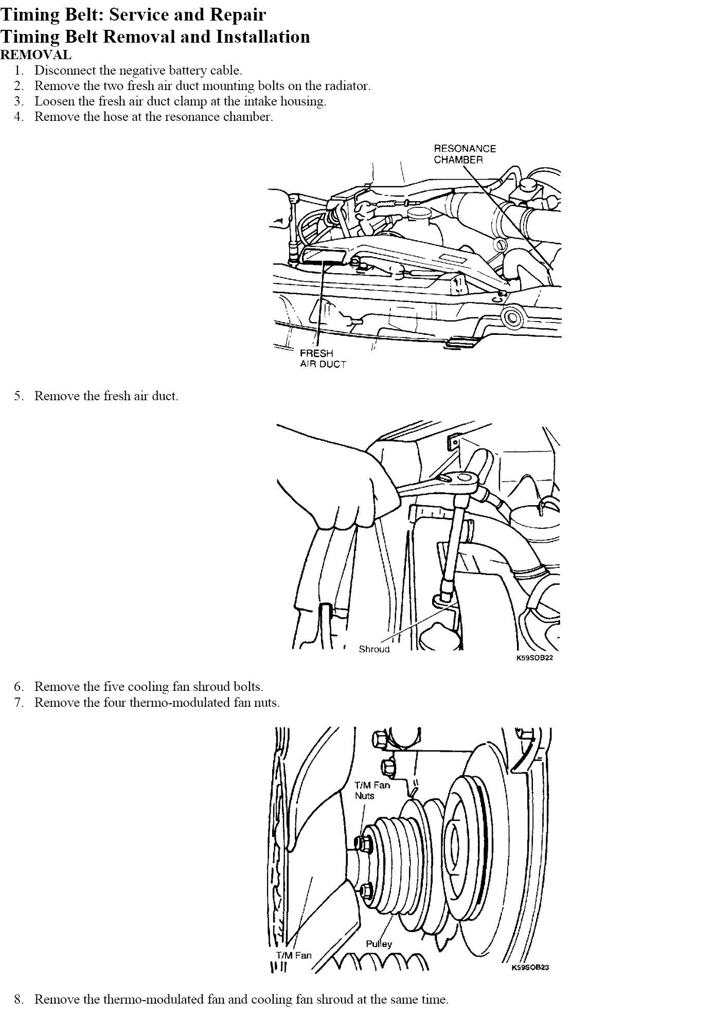 How To Time A 2000 Kia Sportage 1999 Timing Belt Graphic