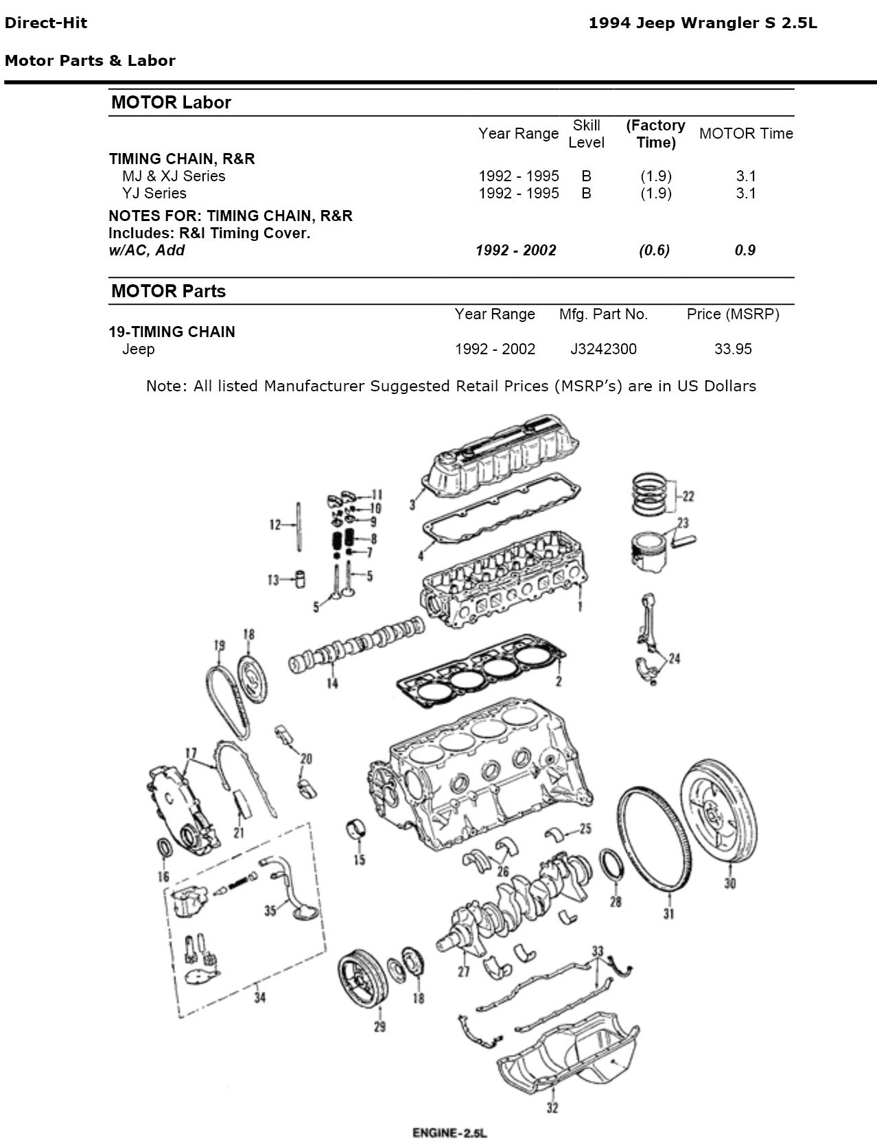How Hard Is It To Replace A Timing Chain On 1994 Jeep Wrangler 95 Fuel Filter Location Graphic