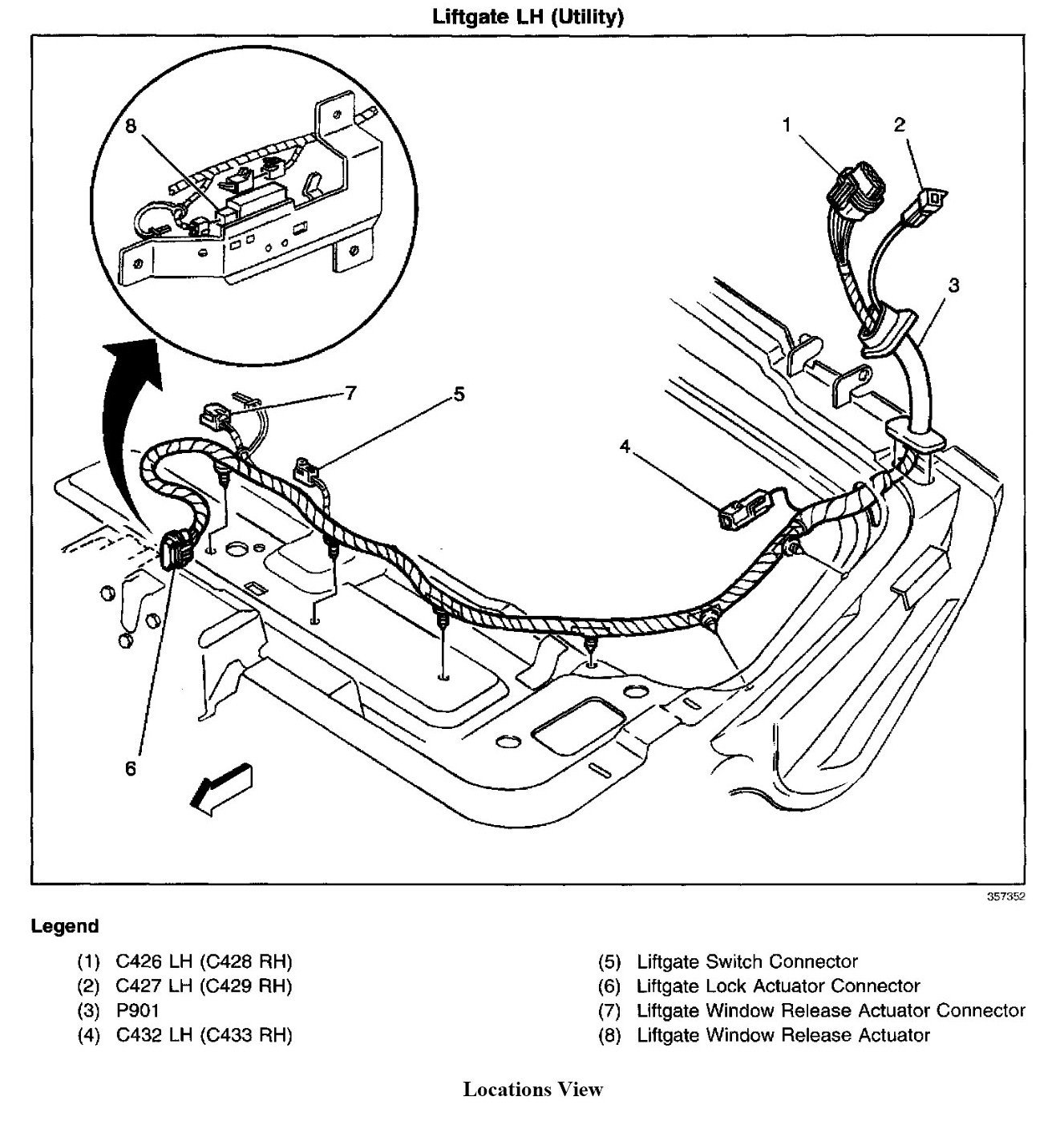 2000 gmc sonoma tailgate diagram