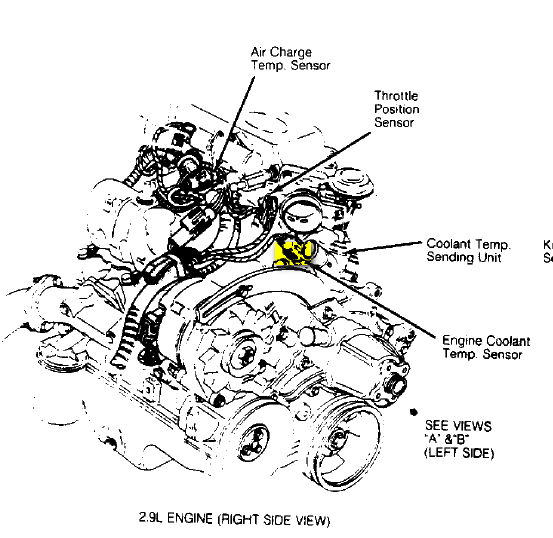 Descride The Iocation Of The ECT Sensor In A 1988 Ford