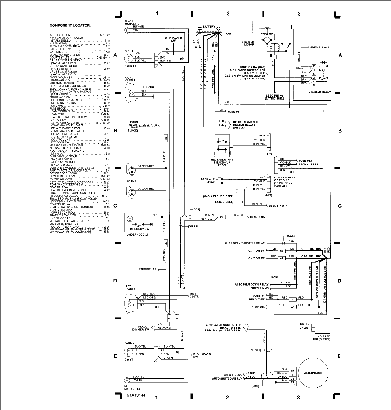 1991 dodge pickup wiring diagram