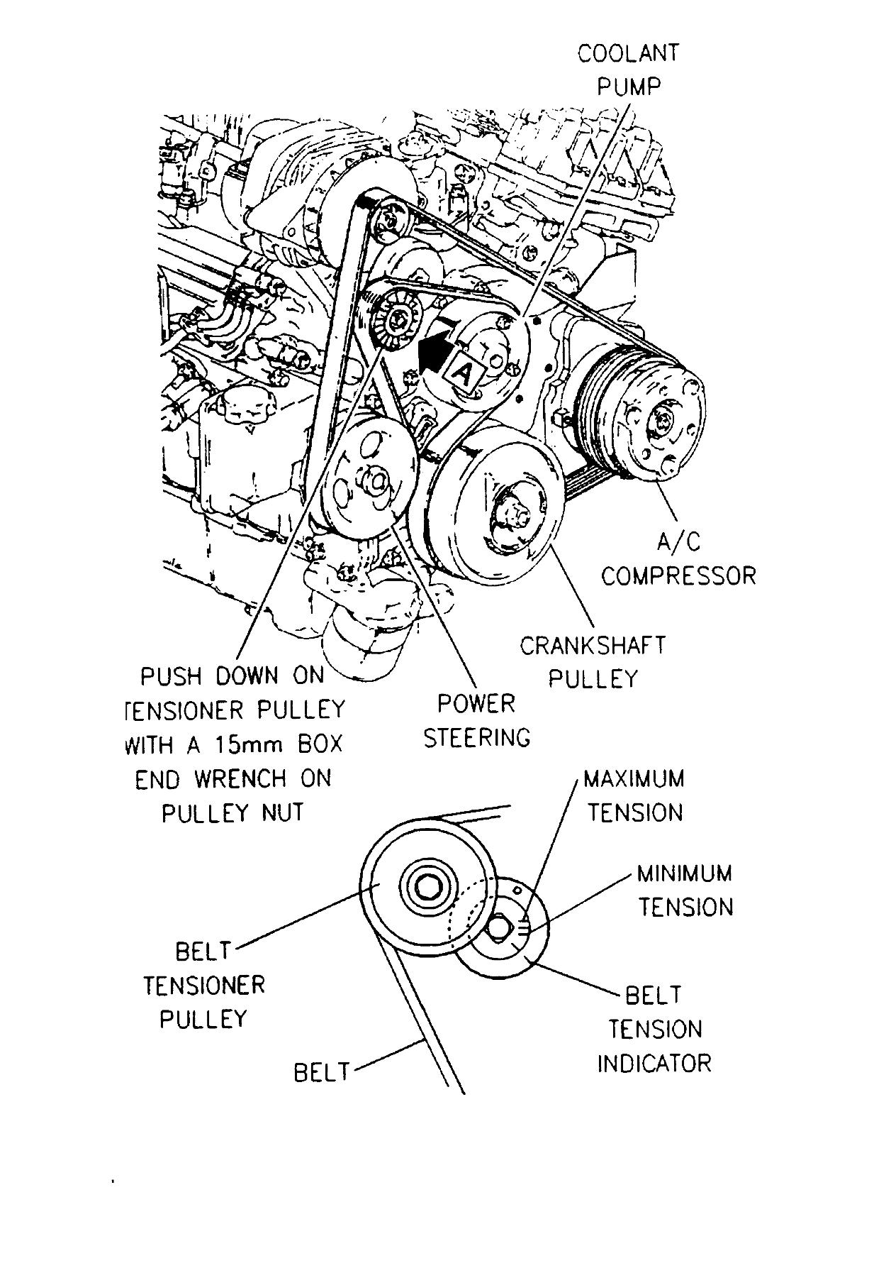 97 buick lesabre  3800  fan belt schematic