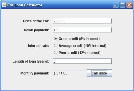 develop a car loan payment calculator design a gui using netbeans