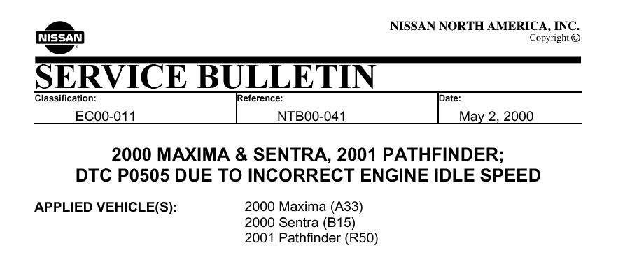 P0505 code on my 2001 Pathfinder  Why is it coming?