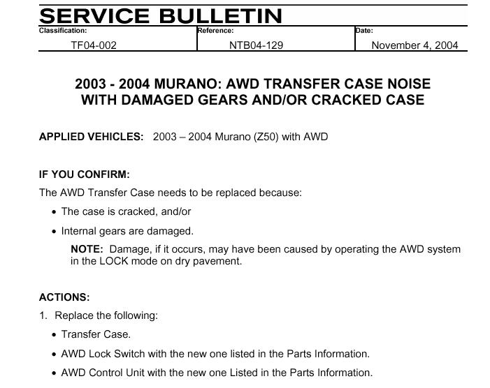 I HAVE A 2004 NISSAN MURANO, THERE IS A LOUD CLUNK NOISE