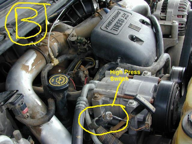 I have a 2002 F350 diesel 7.3 engine. The A/C runs cold ...